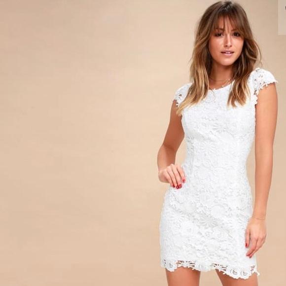 White Lulus Lace Open Back Dress